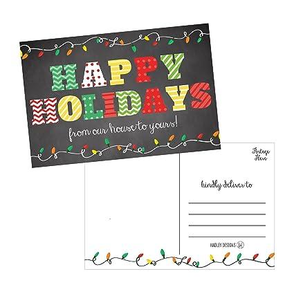 Amazon.com : 50 Chalkboard Holiday Greeting Cards, Cute Fancy Blank ...