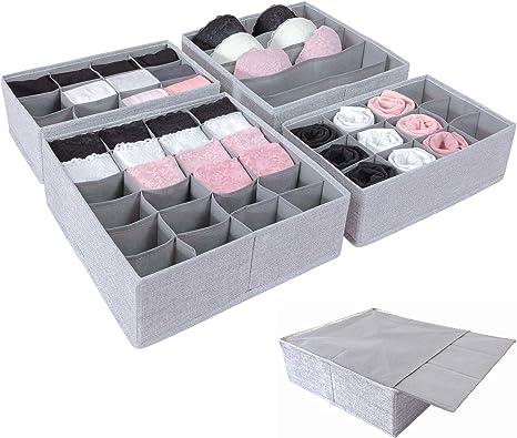 SIMPLE JOY - Organizador de cajones para I K E A; base estable; sistema de organización para calcetines, sujetador, ropa interior; cajas de almacenamiento, cajas de tela en color gris: Amazon.es: Hogar