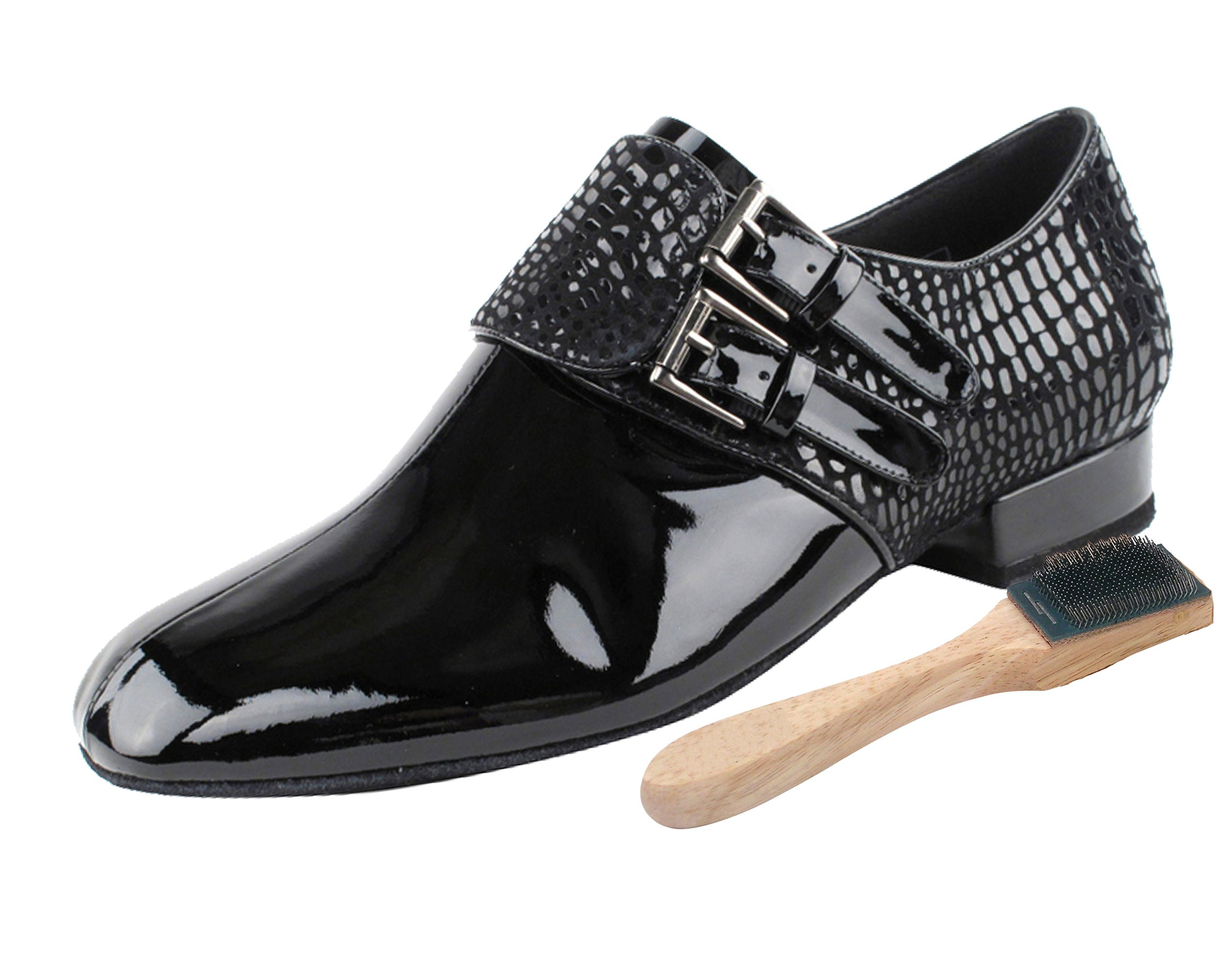 Very Fine Men's Salsa Ballroom Tango Latin Dance Shoes Style CD9006B Bundle with Dance Shoe Wire Brush, Black Patent 10 M US Heel 1 Inch by Very Fine Dance Shoes