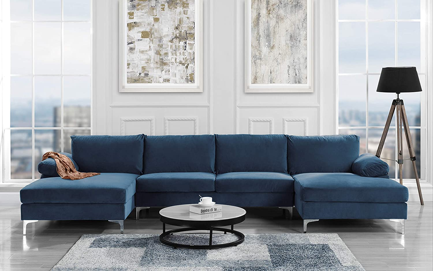 Amazon.com: Sofamania Modern Large Velvet Fabric U-Shape Sectional Sofa, Double Extra Wide Chaise Lounge Couch (Navy): Furniture & Decor