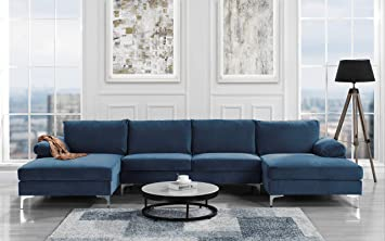 sofamania modern large velvet fabric u shape sectional sofa double extra wide chaise lounge couch navy