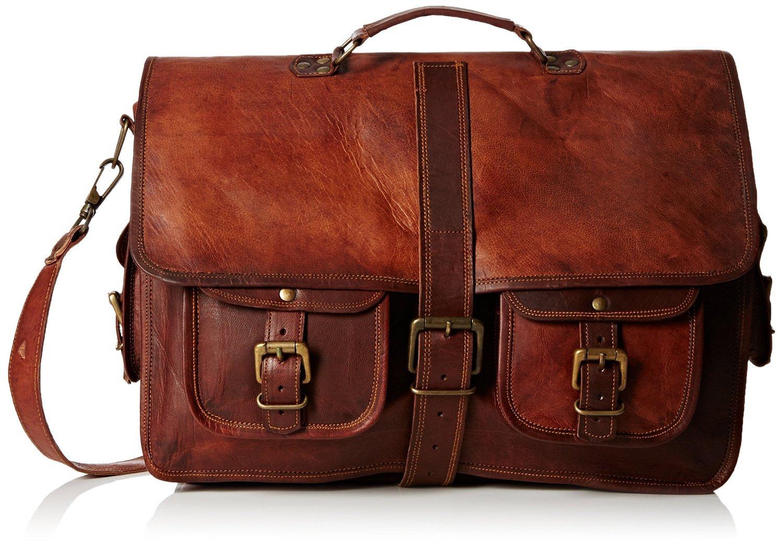 Handolederco. 18'' Inches Classic Adult Unisex Cross Shoulder Leather Messenger Laptop Briefcase Bag Satchel Brown