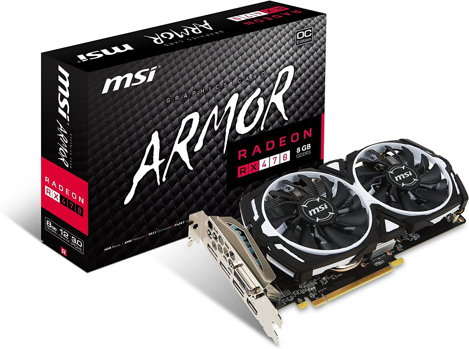 MSI GAMING Radeon RX 470 GDDR5 8GB CrossFire FinFET DirectX 12 Graphics Card (RX 470 ARMOR 8G OC)