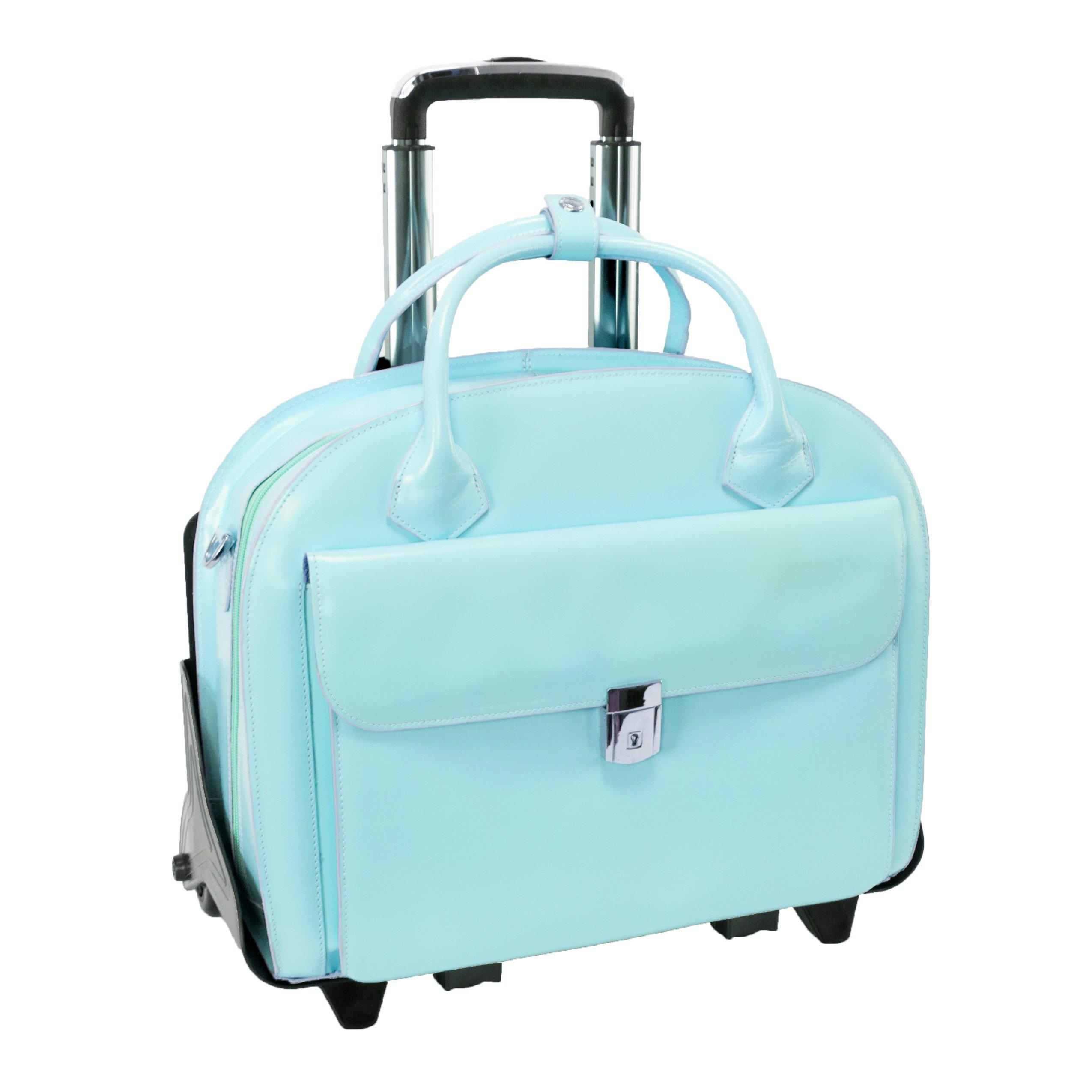 McKleinUSA GLEN ELLYN 94368 Blue Leather Detachable-Wheeled Women's Case