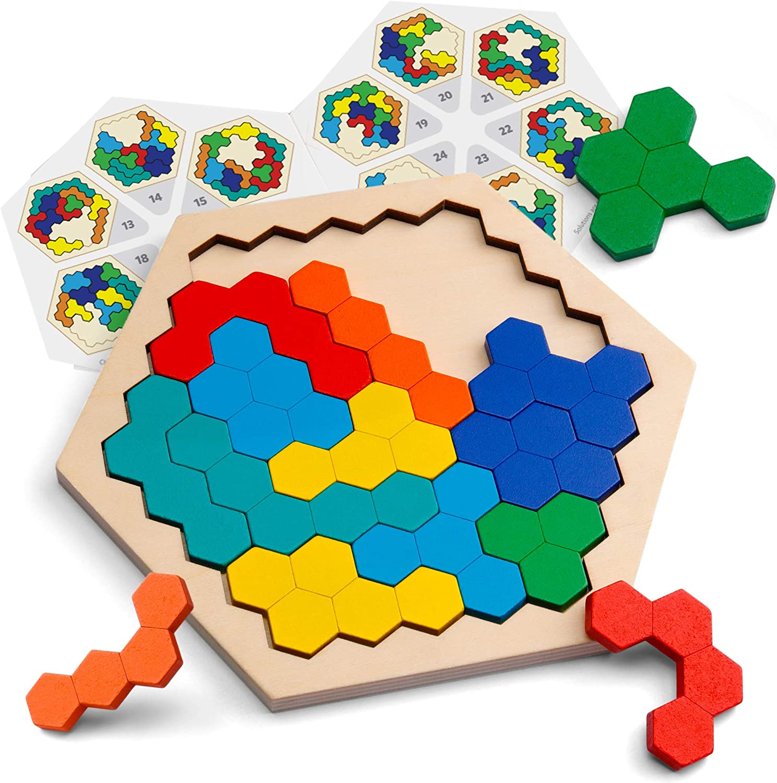 Coogam De Madera Hexágono Rompecabezas - Bloque de Forma Tangram Rompecabezas Juguete Geometría Lógica IQ Juego Stem Montessori Regalo Educativo para Todas Las Edades Desafío