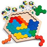 Coogam Wooden Hexagon Puzzle for Kid Adults - Shape Block Tangram Brain Teaser Toy Geometry Logic IQ Game STEM Montessori Educational  All Ages Challenge