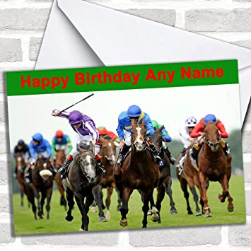 Horse Racing Customised Birthday Greetings Card Cards Sports Hobbies Interests