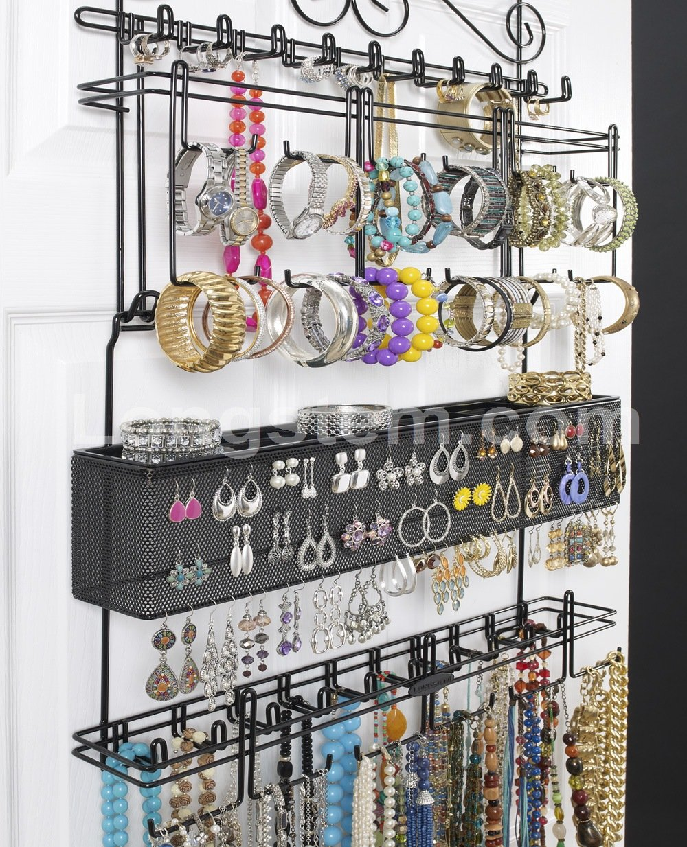 Amazon.com Longstem 6100 Overdoor Wall Jewelry Organizer Valet in Black - Holds over 300 pieces! Unique patented product - Rated Best! Home \u0026 Kitchen & Amazon.com: Longstem: 6100 Overdoor Wall Jewelry Organizer Valet in ...