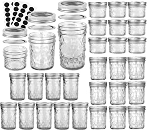 VERONES Mason Jars Canning Jars, Jelly Jars With Regular Lids, Ideal for Jam, Honey, Wedding Favors, Shower Favors, Baby Foods, DIY Spice Jars, 4 OZ x 10, 6 OZ x 10, 8 OZ x 10