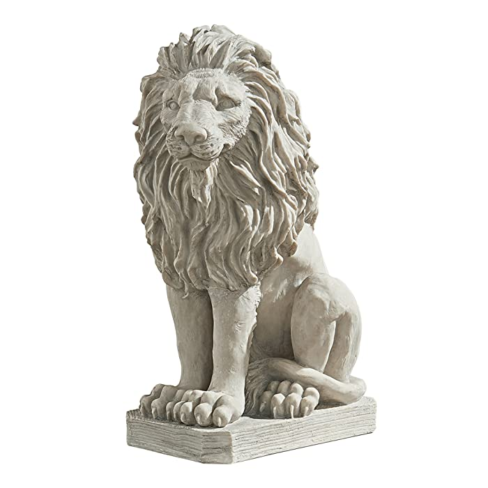 Design Toscano Mansfield Manor Lion Sentinel Animal Statue, 21 Inch, Polyresin, Antique Stone