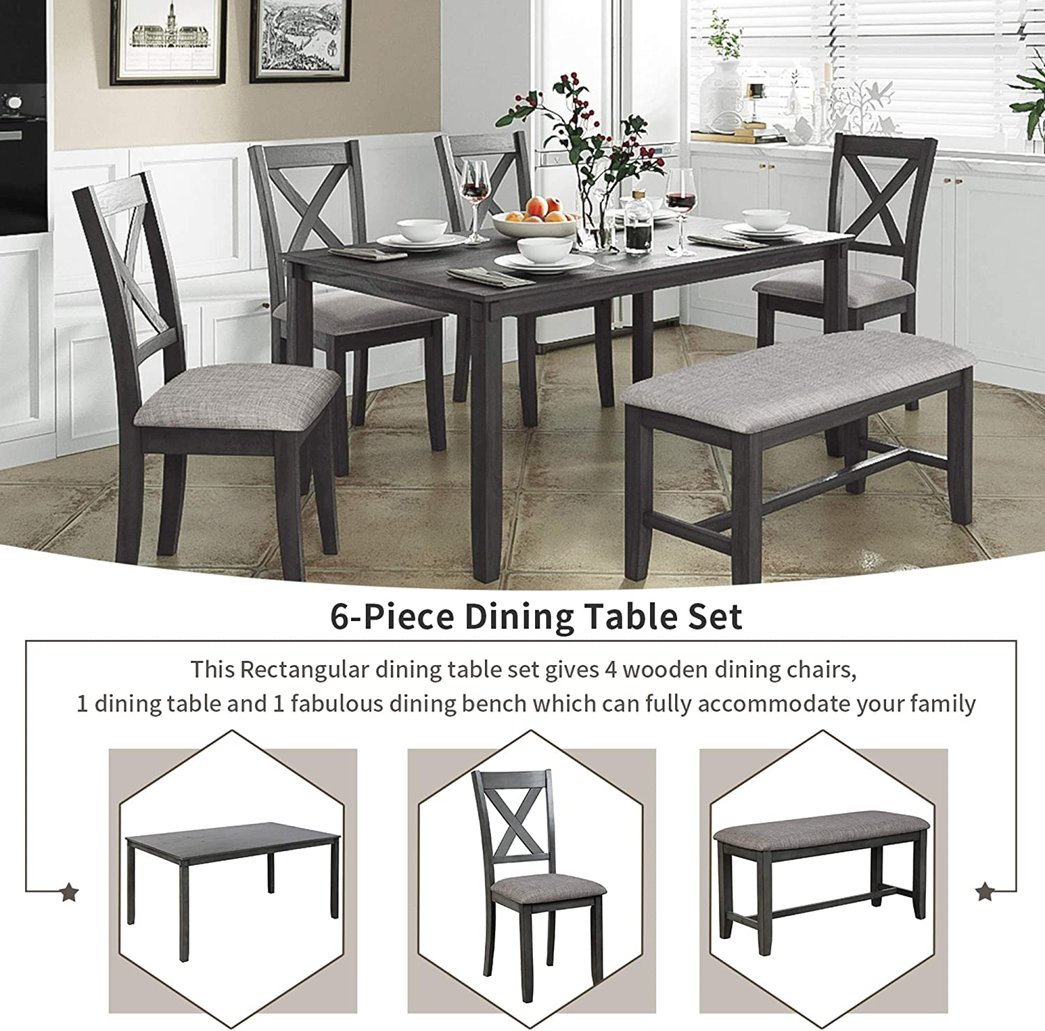 9 Piece Dining Table Set Kitchen Table with Bench and Chairs,9x ...