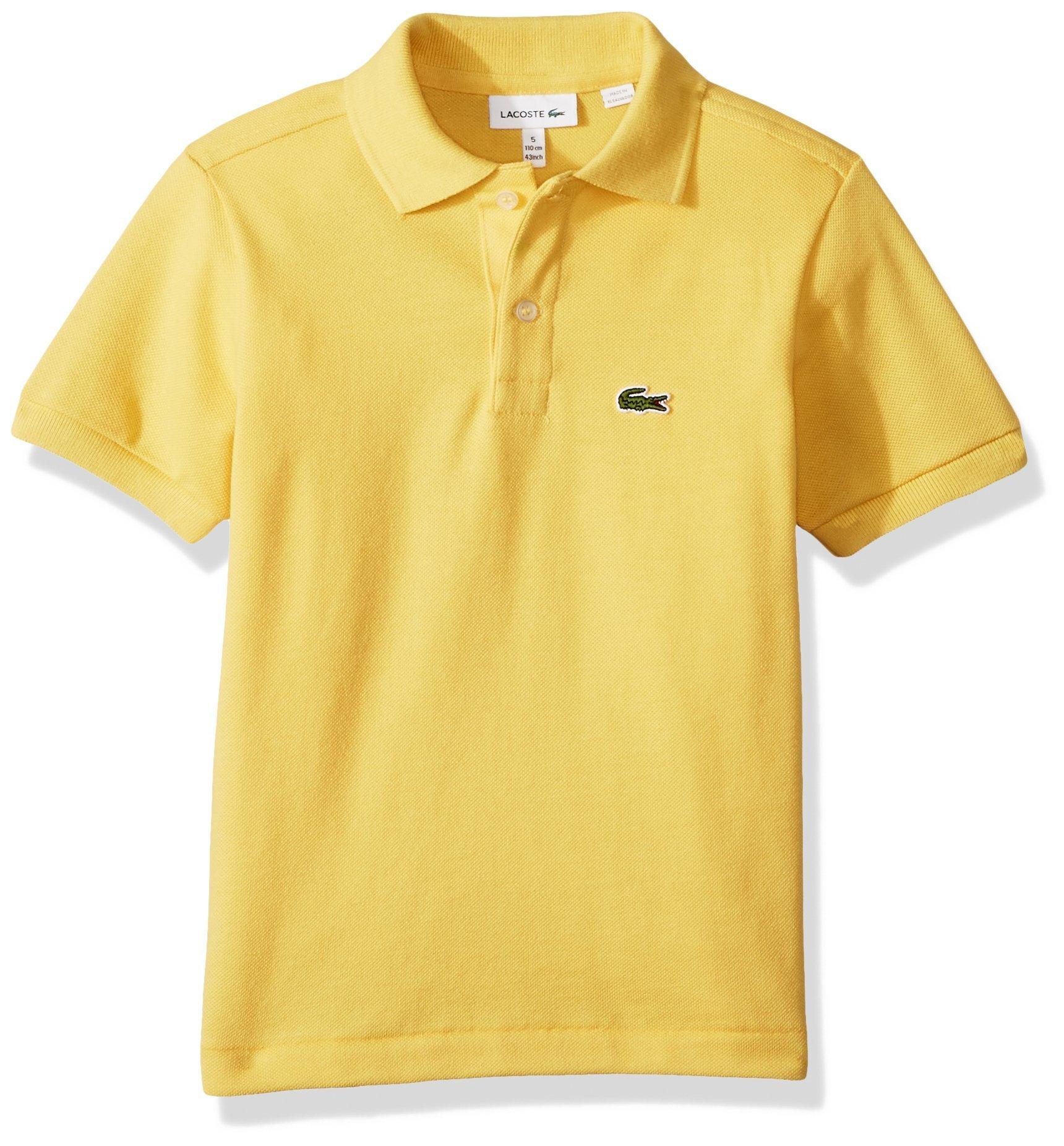 Lacoste Little Boys' Short Sleeve Classic Pique Polo, Banana, 6