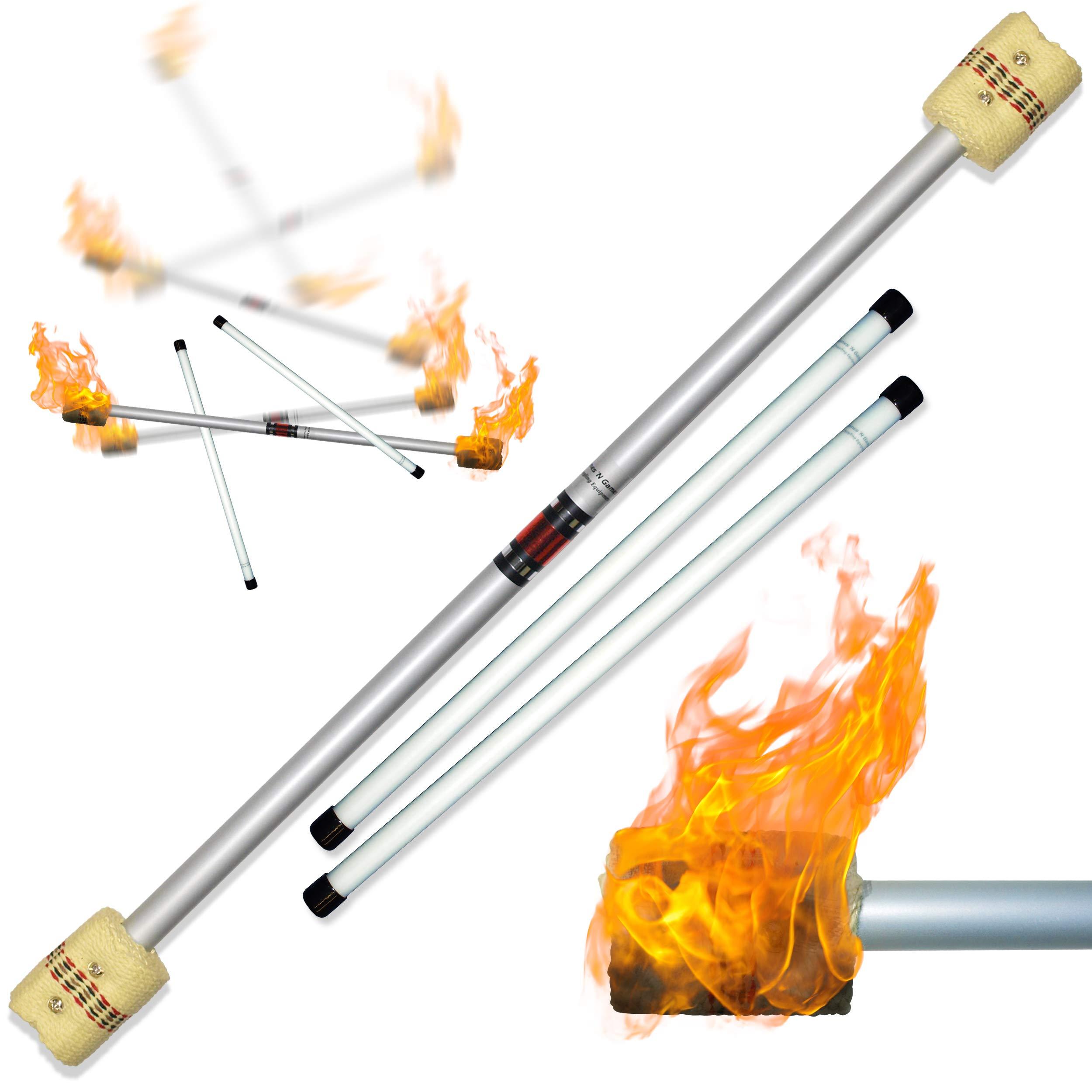 Flames N Games FIRE Devil Stick Set (65mm Wicks) Ultra-Strong FIBRE Sticks! Juggling Devil sticks for Beginners & Pro's alike! by Flames N Games Fire Devil Sticks/Flower Sticks