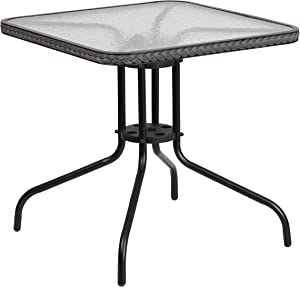 Flash Furniture 28'' Square Tempered Glass Metal Table with Gray Rattan Edging