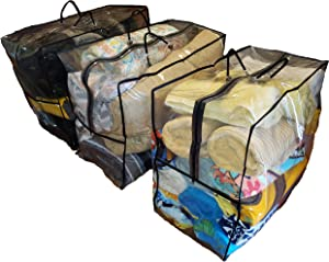 """Large Capacity Clothes Storage Bag Organizer 3 Pk (24"""" x 20"""" x 12"""") Handle for Comforters, Blankets, Bedding, with Sturdy Zippers, Clear"""