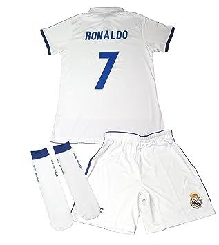 CONJUNTO REAL MADRID NIÑO CON DORSAL DE CRISTIANO RONALDO 1º EQUIPACION REPLICA OFICIAL (TALLA 14): Amazon.es: Deportes y aire libre