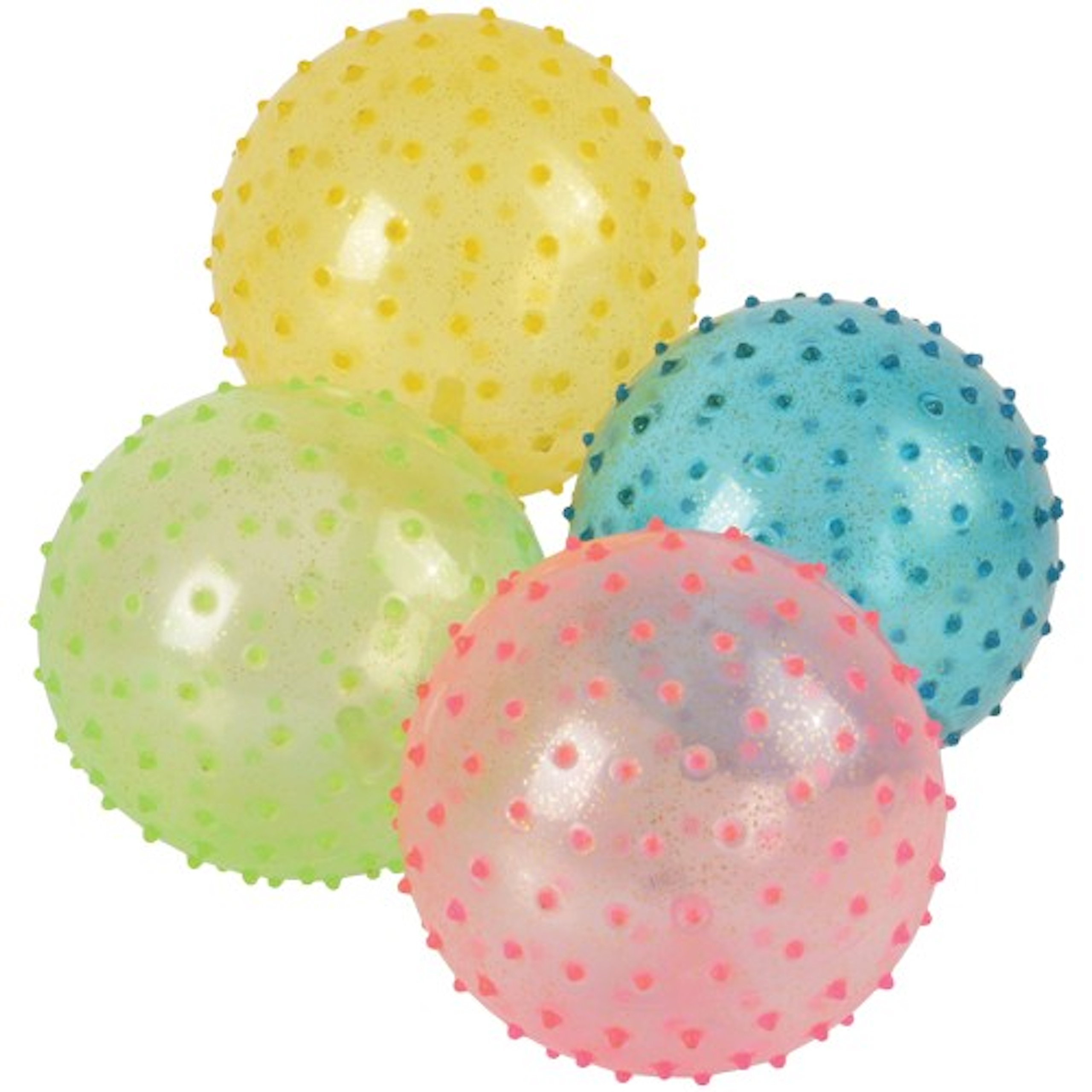 Assorted Color Glitter Knobby PVC Playground Inflatable Balls (12) by Marvel Trading Company
