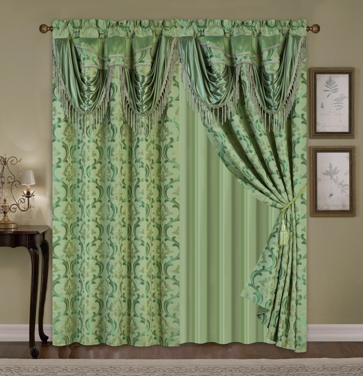 All American Collection New 4 Piece Elegant Drape Set with Attached Valance and Sheer with 2 Tie Backs Included Sage