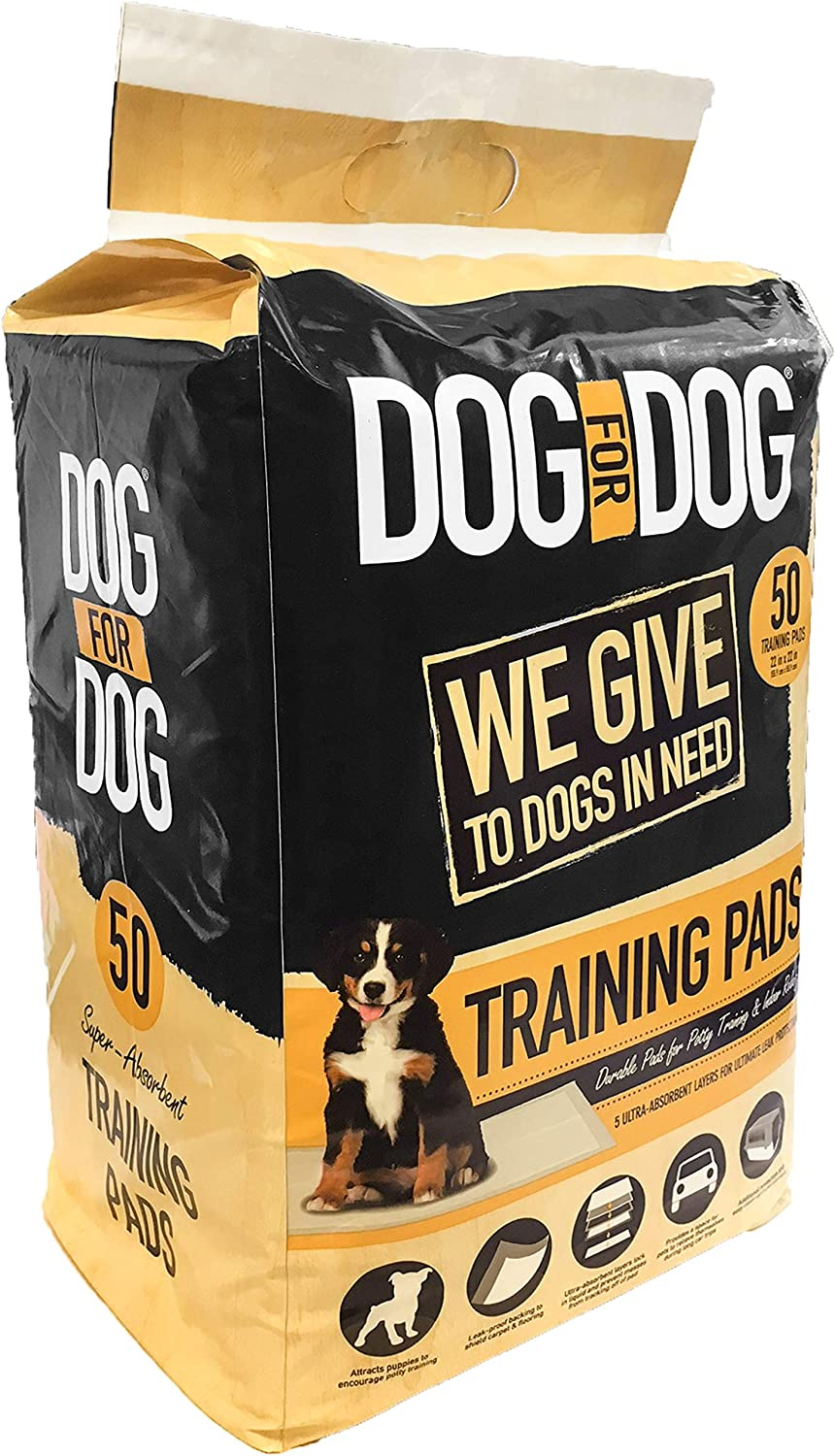 DOG for DOG Puppy Pads - Instant Gel, Super Absorbent, Tear-Resistant Pee Dog Training Pads for Dogs - Pet Weewee Pads -Odor Neutralizing with Leak Protection for Puppies - 22x22 in