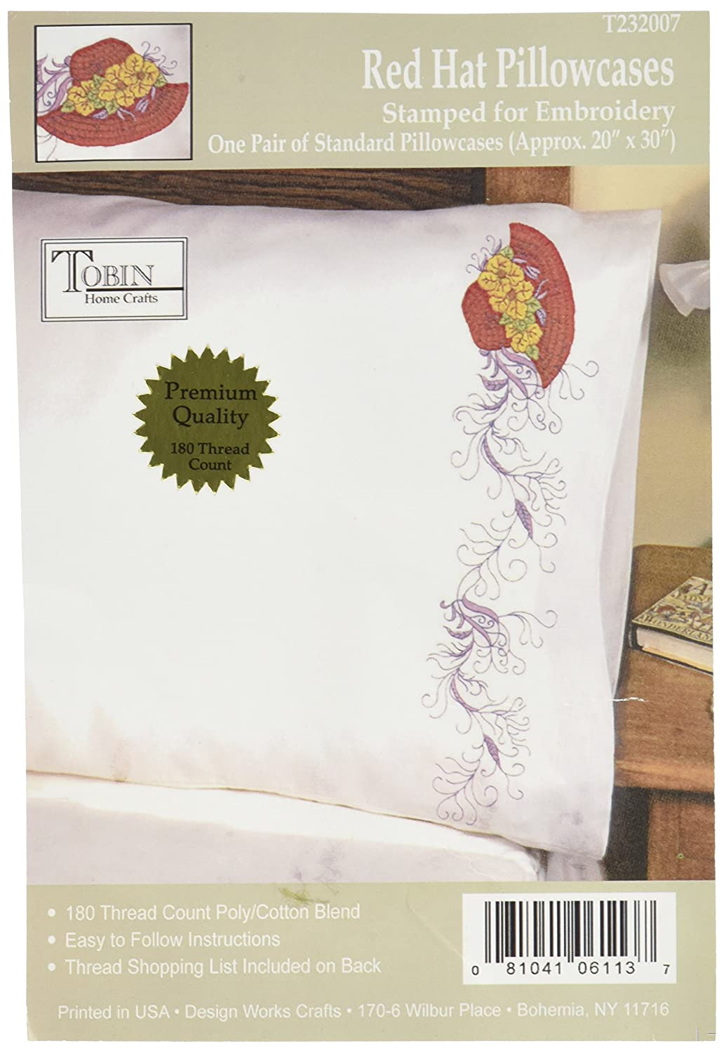 Dreamcatcher Tobin 232040 Stamped Pillowcase Pair for Embroidery