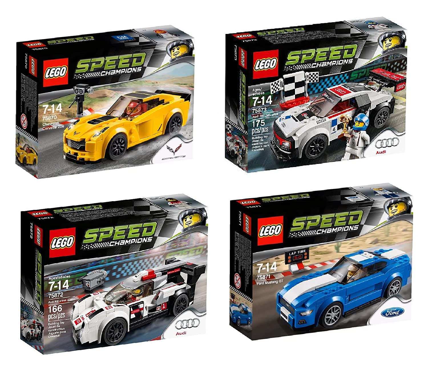 Lego Speed Champions 4 Set Toy Car Bundle Chevrolet 75873 Audi R8 Lms Ultra Corvette Z06 75870 Ford Mustang Gt 75871 R18 E Tron Quattro 75872 And