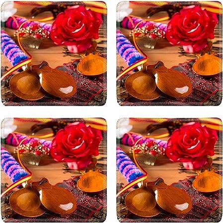 MSD Posavasos cuadrados antideslizantes de goma natural diseño de posavasos de escritorio 19616613 Espana típico de España con castañuelas rosas abanico bullfighter y combo flamenco: Amazon.es: Hogar