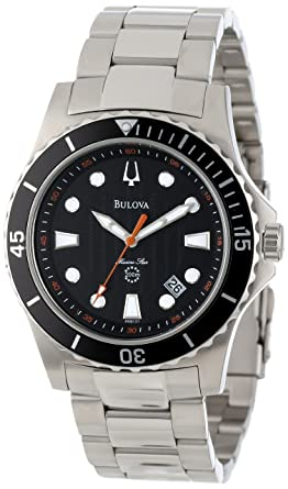01977e4de Amazon.com: Bulova Men's 98B131 Marine Star Black Dial Bracelet ...