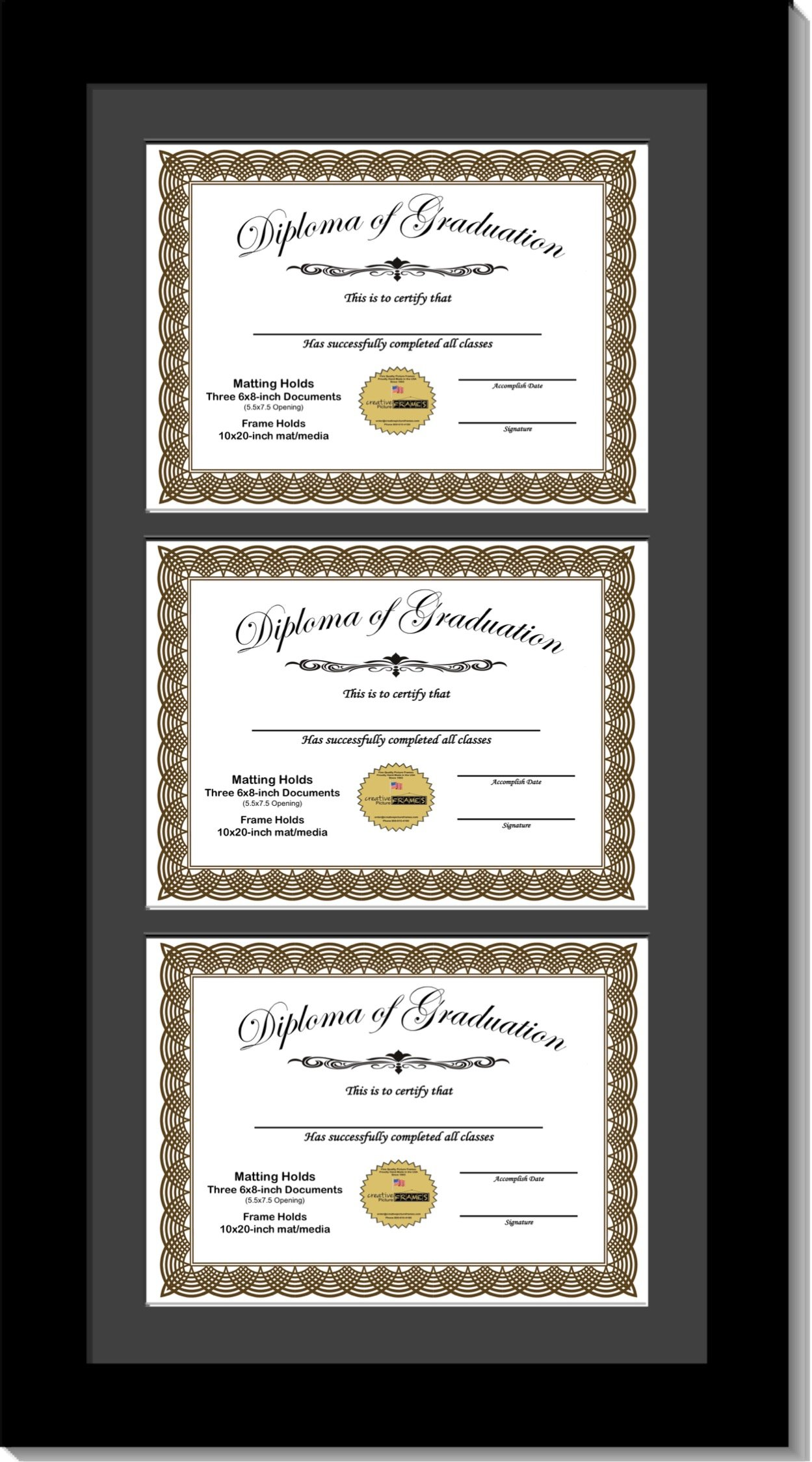 CreativePF [6x8-3-10x20bk-b] Black Triple Diploma Frame with 3 Opening Black Matting | Holds 3-6x8-inch Documents with Installed Wall Hanger