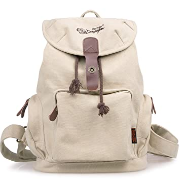 ab37374b957 DGY Women s Korean Fashion Canvas Backpack For College G00117 Beige