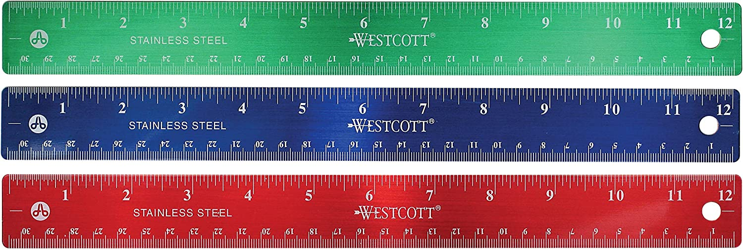 "12/"" Stainless Steel metal Rulers inches and metric cm 1-Red 1-Green 3 1-Blue"