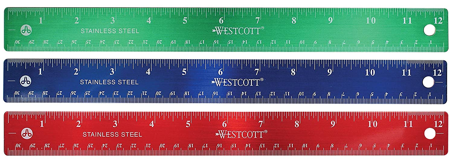 """12"""" Stainless Steel metal Rulers inches and metric cm 1-Red, 1-Blue, 1-Green 3 Pack"""