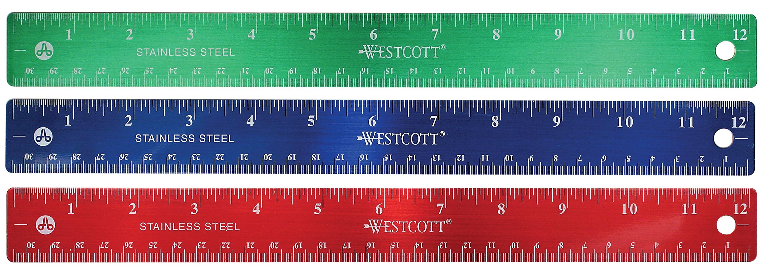 12'' Stainless Steel metal Rulers inches and metric cm 1-Red, 1-Blue, 1-Green 3 Pack