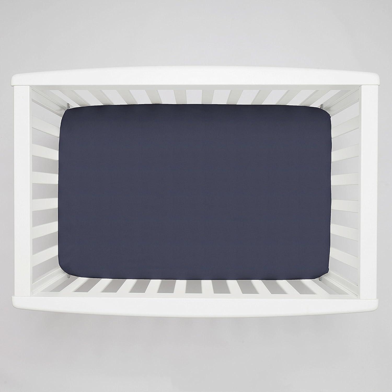 Carousel Designs Solid Navy Mini Crib Sheet 5-Inch-6-Inch Depth by Carousel Designs   B00L88VOFI