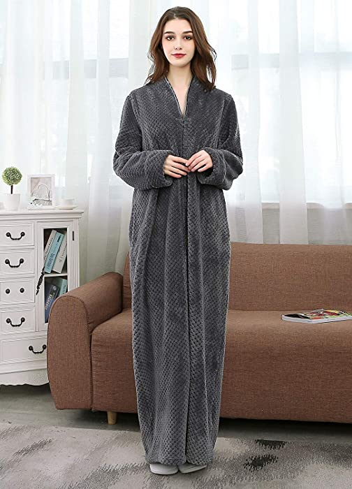Women s Zip Front Bathrobe Soft Warm Long Fleece Plush Robe Plus Size  Housecoat Sleepwear Dressing Gown 9cc72c138