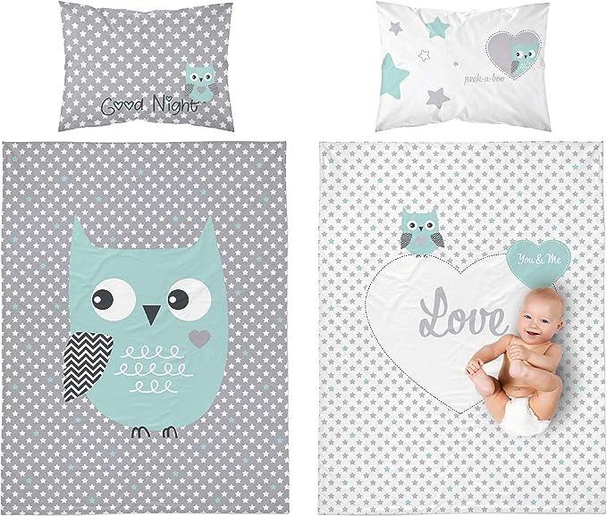 Juego de ropa de cama para bebé, 2 piezas Búho 100% algodón tamaño ...