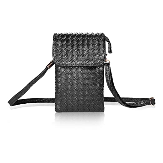 cf8584892 Amazon.com: Bosam woven leather cell phone crossbody bag small purse for  iphone X 8 7 plus 5.5inch smartphones(Black): Clothing
