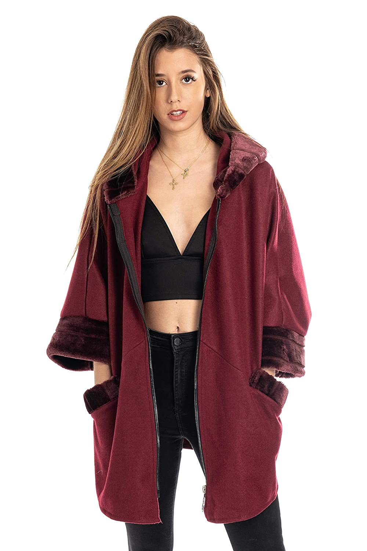 Sight Abrigo con Pelo sintético, Muy Elegante para Mujer - Caroline: Amazon.es: Ropa y accesorios