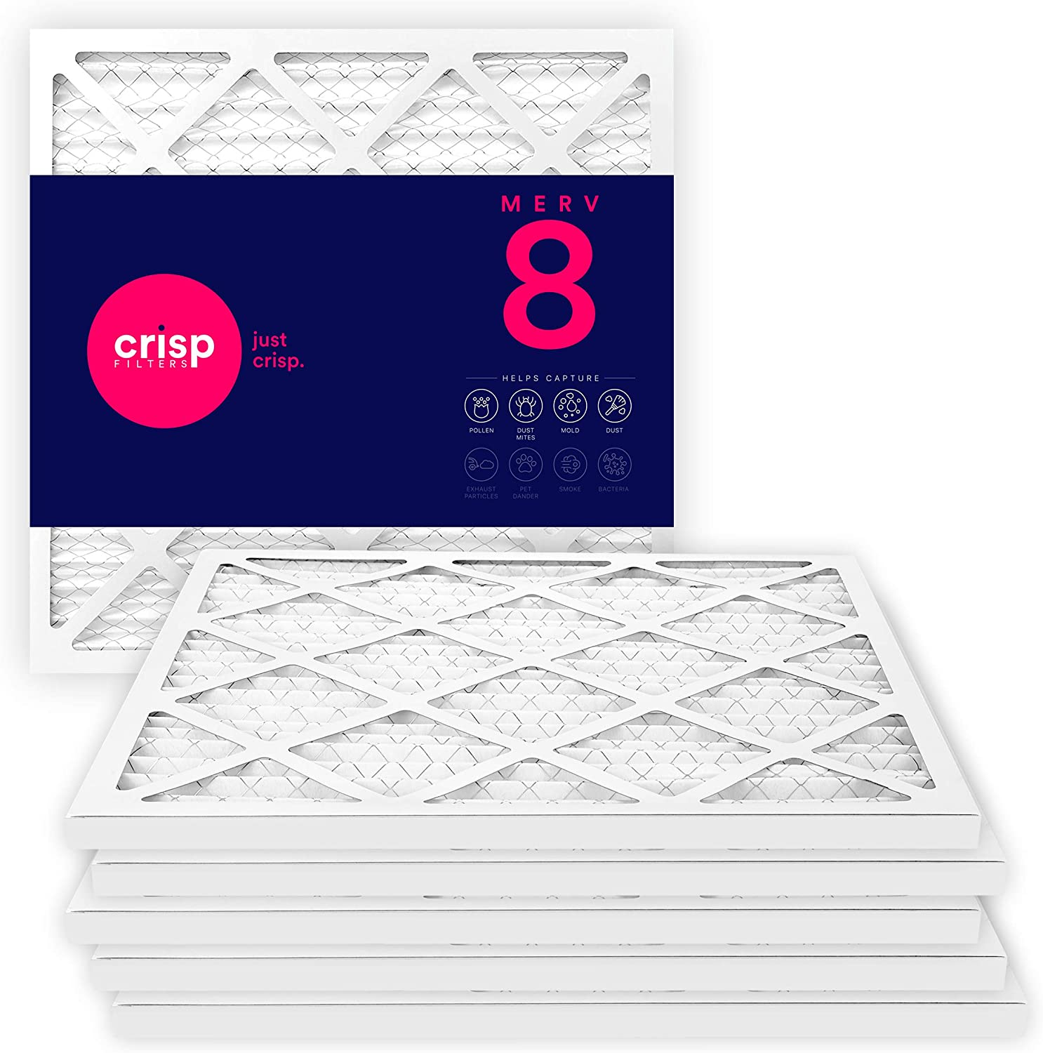 Crisp Filters, 16x20x1 Air Filter, MERV 8, MPR 600, AC Furnace Air Filter, 6-Pack