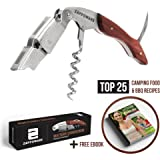 ZAPPOWARE WAITERS CORKSCREW - Professional Restaurant Quality Corkscrew / Bottle Opener / Foil Cutter - Must Have Tool for Bartenders / Waiters - Open Wine / Beer!