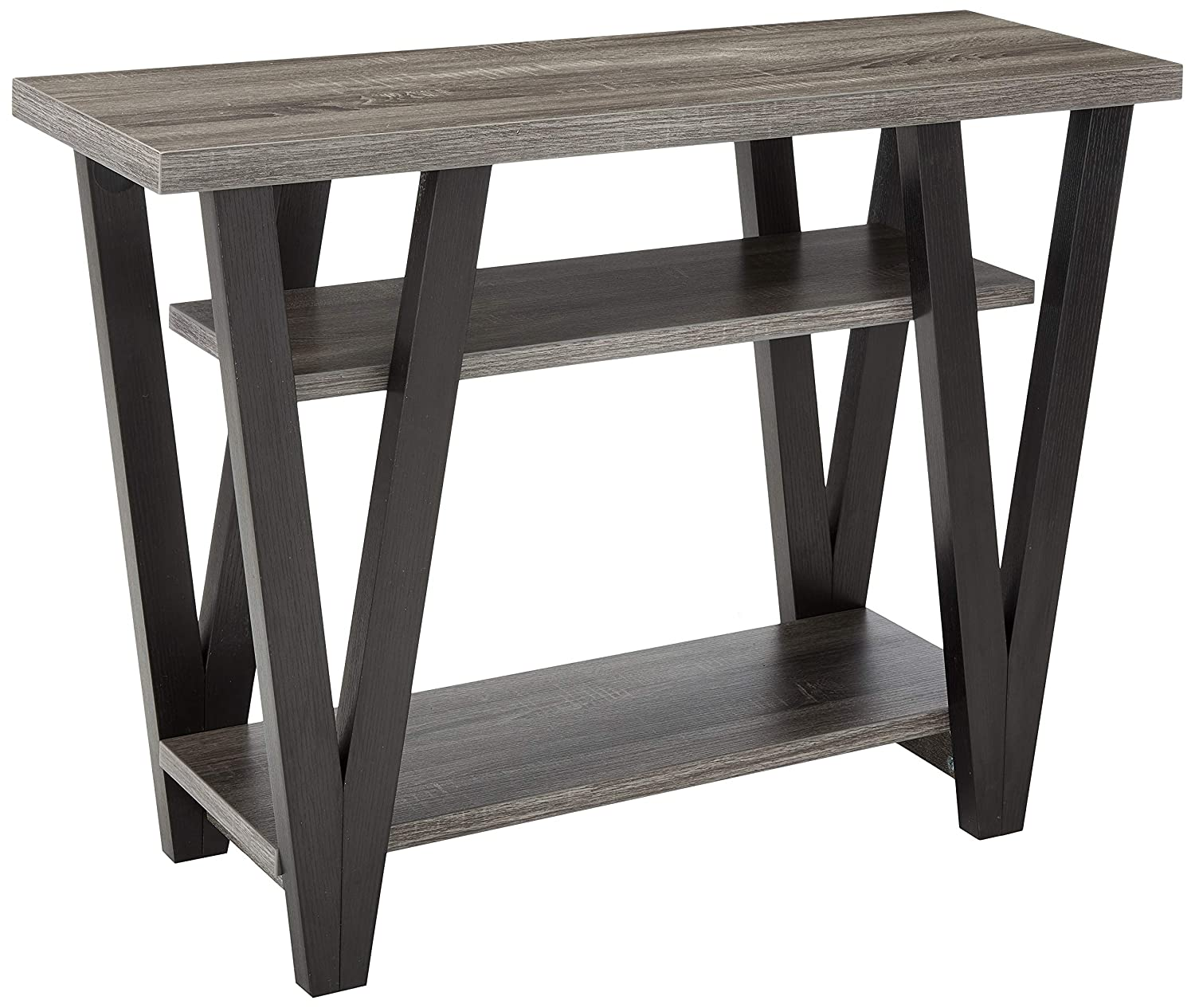 Coaster 705399-CO 2 Shelf Console Table, Antique Grey Black