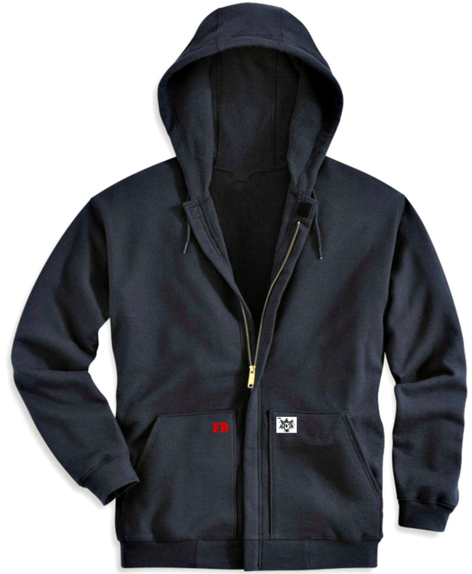 Dave Ocean33 Durable Fire Resistant 12oz Hoodie FR Sweatshirt With Full Front Zipper, HRC2. 100% Cotton, Black (XLarge)