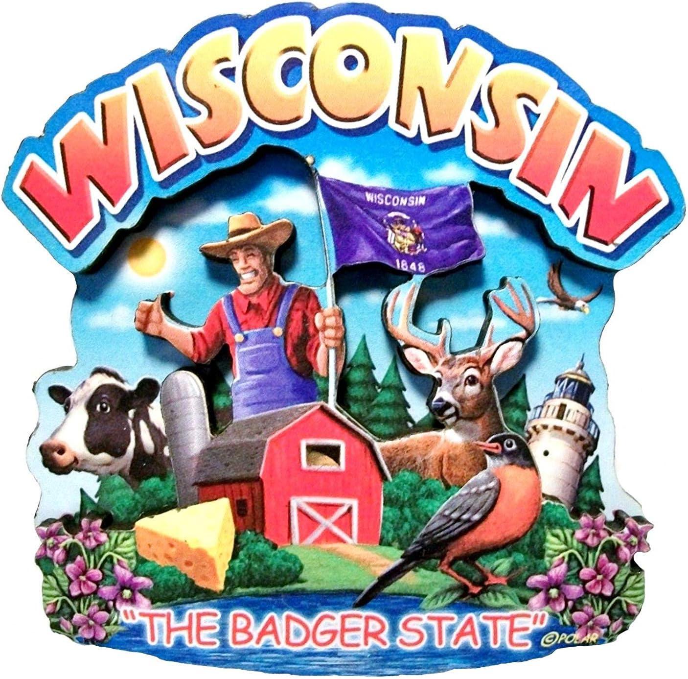 Wisconsin State Montage Wood Fridge Magnet 2