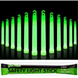 """12 Industrial Grade Glow Sticks, 6"""" Ultra Bright Emergency Light Sticks with +12 Hours Duration (Green)"""