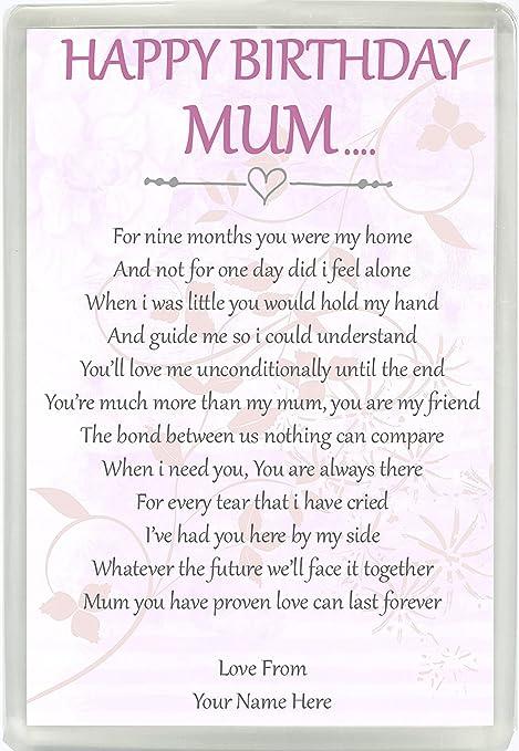 Personalised Happy Birthday Mum Poesia Jumbo Magnete Compleanno