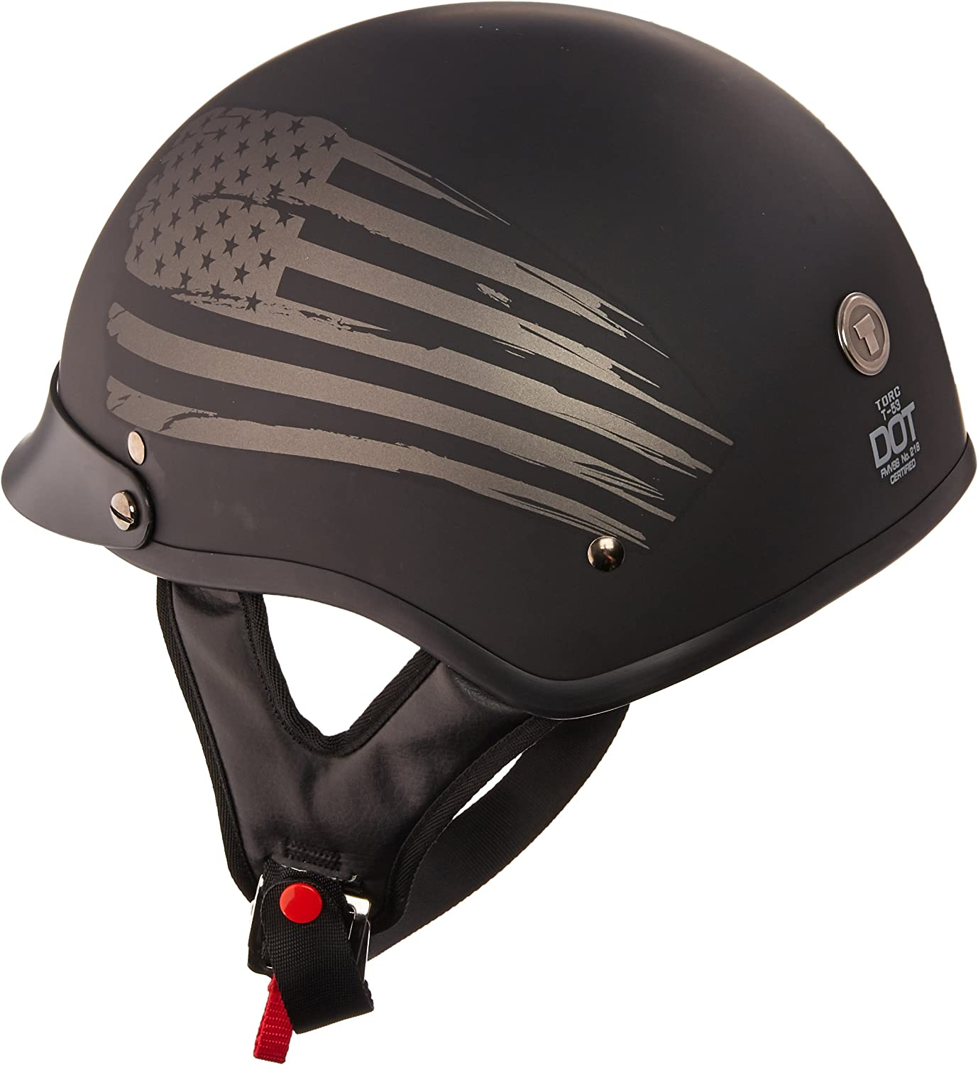 Flag X-Small TORC unisex-adult size style T53 Black Hills Motorcycle Half Helmet with Graphic