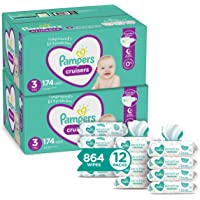 Pampers Cruisers Disposable Baby Diapers Size 3, 2 Month Supply (2 x 174 Count) with Sensitive Water Based Baby Wipes…