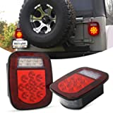Nilight - TL-21 2PCS 39 LED Universal Stop Turn Tail Light for Truck Trailer Boat Jeep, 12V Stud Mounted Red/White Lamp…