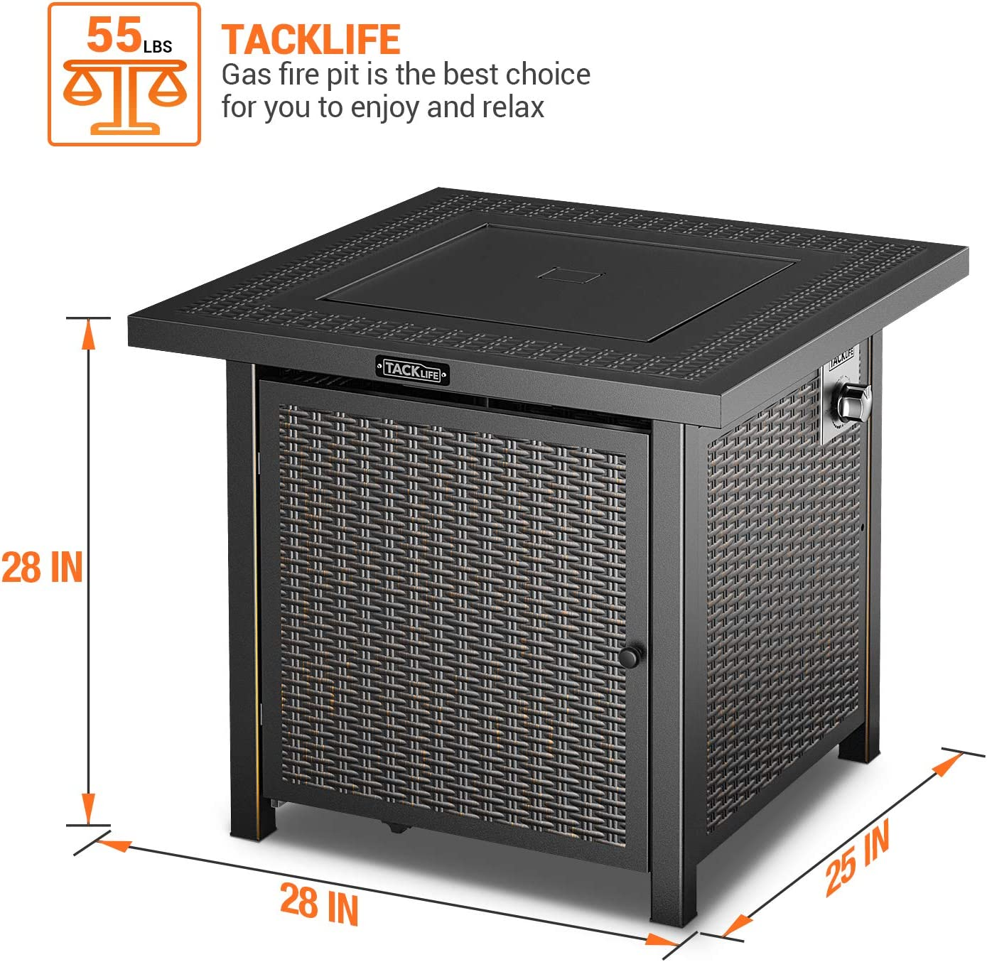 TACKLIFE Gas Fire Pit Table, 28 inch 50,000 BTU Steel Surface Outdoor Propane Fire Table with Durable Cover, CSA Certification Approval