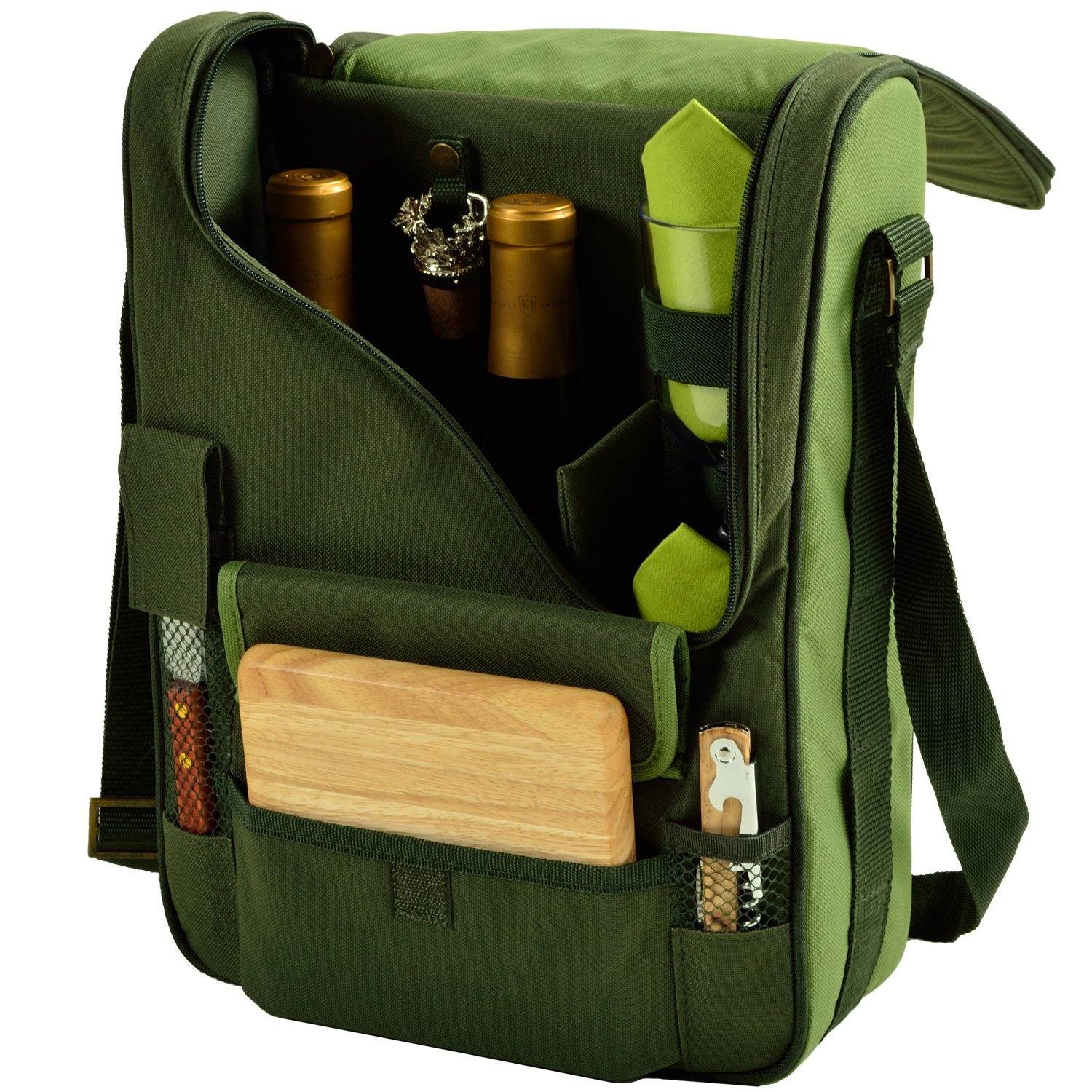 Picnic at Ascot Insulated 2 Wine Bottle Bag with Corkscrew & Shoulder Strap