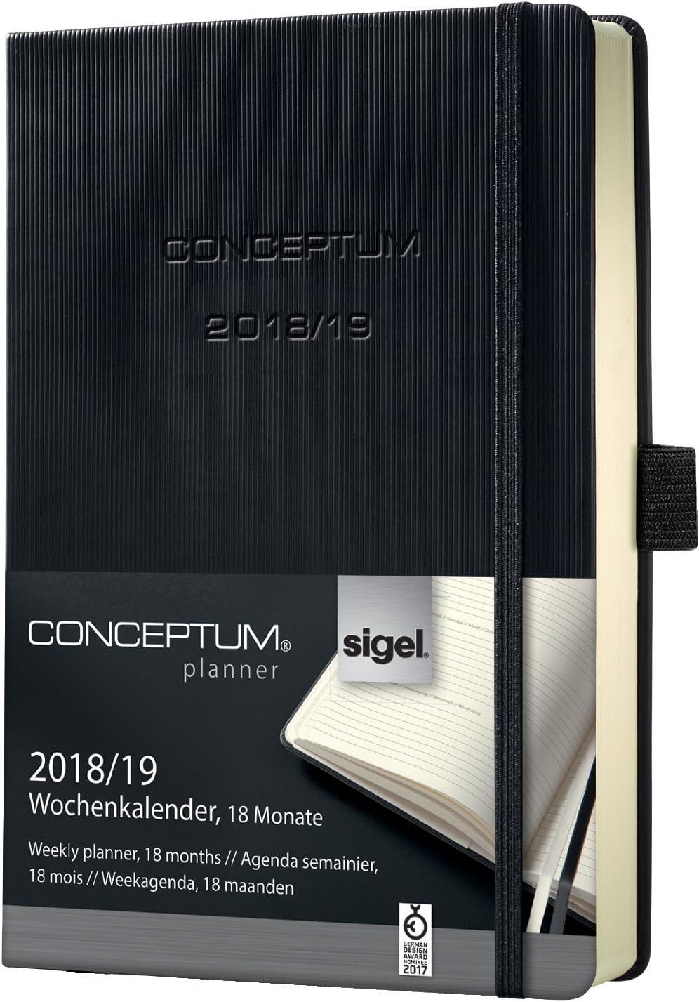 Sigel C1902 Agenda Settimanale 18 Mesi 2018/2019 Conceptum, Copertina Rigida, 10,8 X 15,1 Cm, Nero